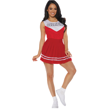 Women's Red Cheerleader Cheer Costume (Eagles Cheerleaders Halloween Costume)