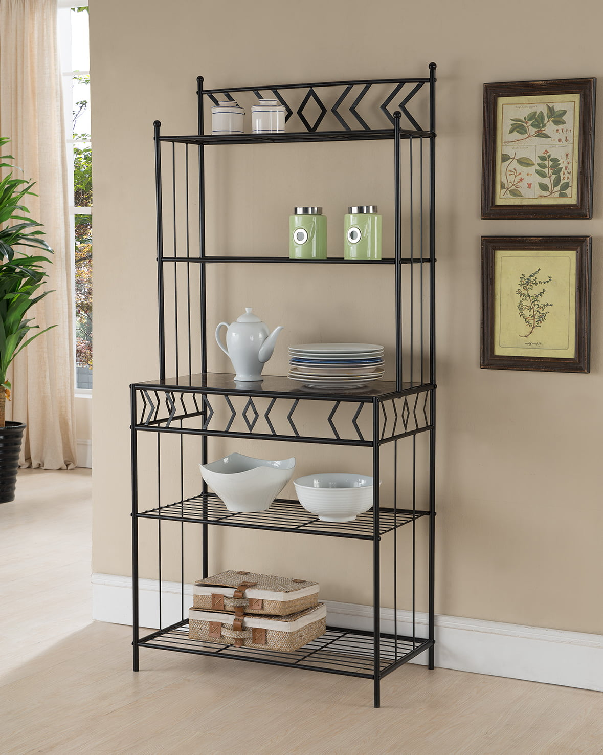 Black Metal & Wood Transitional 5 Tier Storage Kitchen Bakers Organizer Rack Display Stand by Pilaster Designs