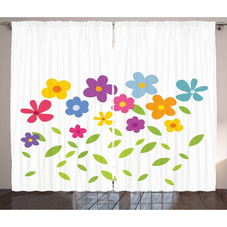 Green Flower Curtains 2 Panels Set, Colorful Abstract Cartoon Floral Arrangement Foliage Leaves Meadow Pattern, Window Drapes for Living Room Bedroom, 108W X 63L Inches, Multicolor, by Ambesonne - Led Lights For Flower Arrangements