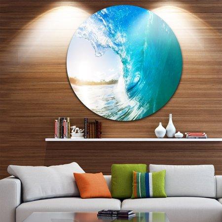 Blue Vertical Arch - DESIGN ART Designart 'Blue Waves Arch' Seascape Photo Circle Wall Art