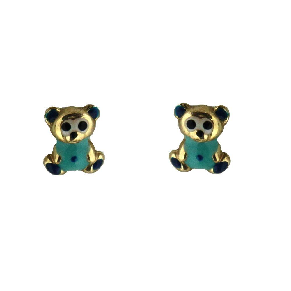 18K Yellow Gold Light Blue Enamel Teddy Bear Earrings