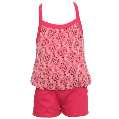 2 Be Real Little Girls Fuchsia Diamond Patterned Top 2 Pc Shorts Set 2T-6X