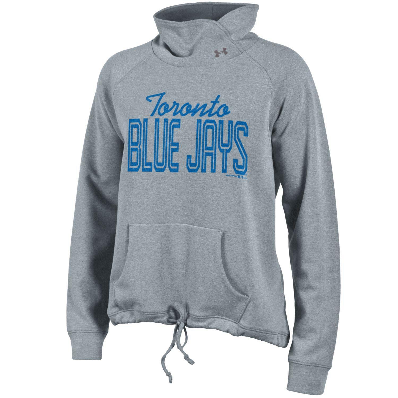 Toronto Blue Jays Under Armour Women's Studio Cowl Neck Pullover Sweatshirt - Gray