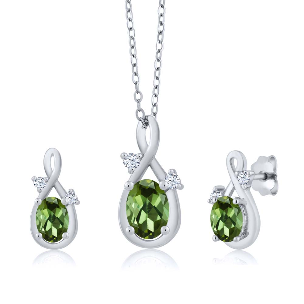 1.79 Ct Oval Green Tourmaline 18K White Gold Pendant Earrings Set by
