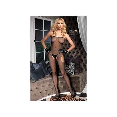 - Women's Fishnet Suspender Bodystocking, O/S, Black
