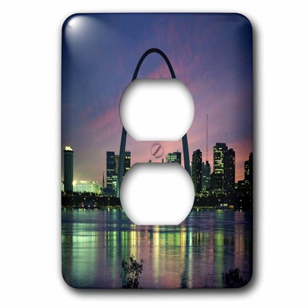 3dRose St louis Missouri Arch At Nite - 2 Plug Outlet Cover (St Louis Outlet Mall Stores)