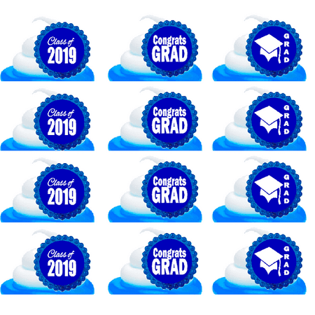 Class of 2019 Graduation Blue Easy Toppers Cupcake Decoration Rings - Easy Cupcake Decorations Halloween