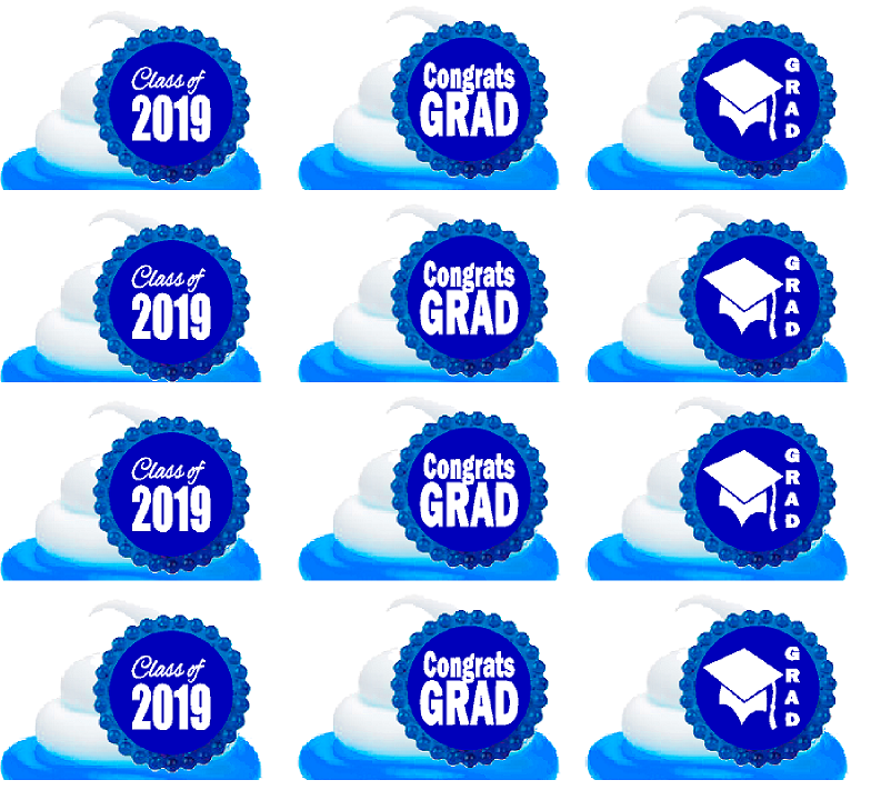 Class of 2019 Graduation Blue Easy Toppers Cupcake Decoration Rings -12pk