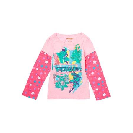 Girls TMNT Turtle Power Glitter Long Sleeve Shirt - Pink