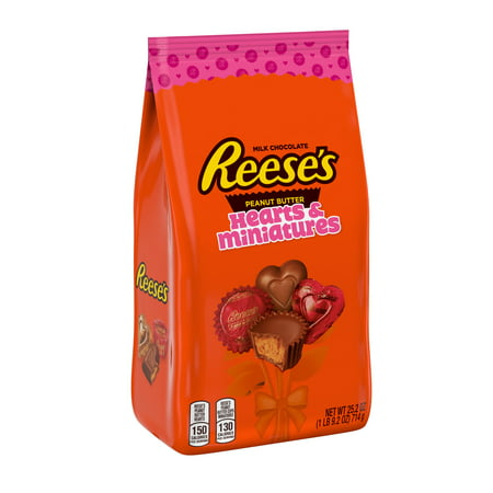Reese's Valentine's Hearts & Miniatures Chocolate Stand Up Bag - 25.2oz