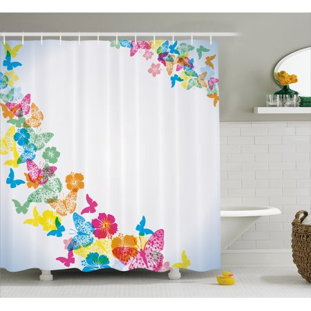 Luau Shower Curtain, Fantastic Festive Fun Party Borders with Colorful Butterfly Silhouettes and Florets, Fabric Bathroom Set with Hooks, 69W X 70L Inches, Multicolor, by Ambesonne