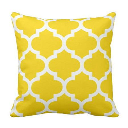 ARTJIA Colorful Garden Sun Yellow Moroccan Patio Pillowcase Cover 18x18 inch