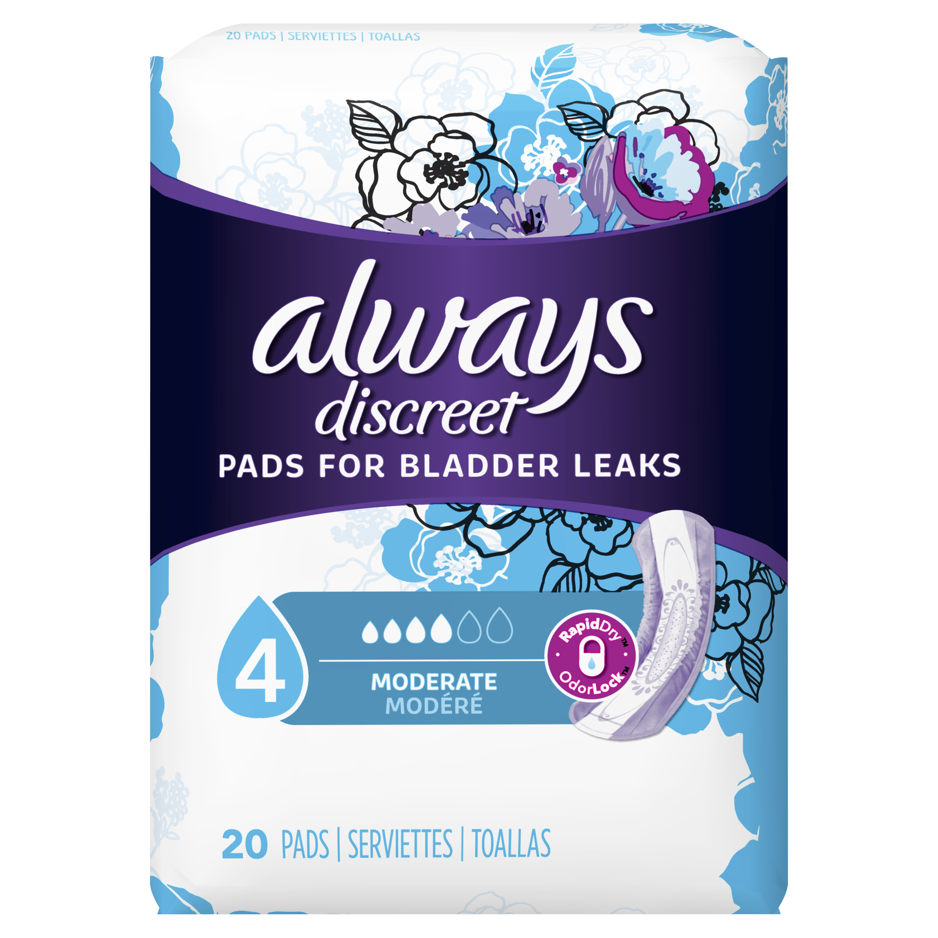 Always Discreet Incontinence Pads for Women, Moderate Absorbency, 20 Count