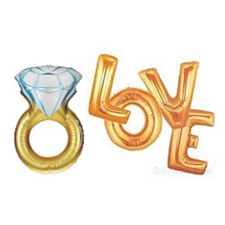 LOVE the Ring in Gold Set of 5 Balloons, Mylar By American  BalloonWalmartpany
