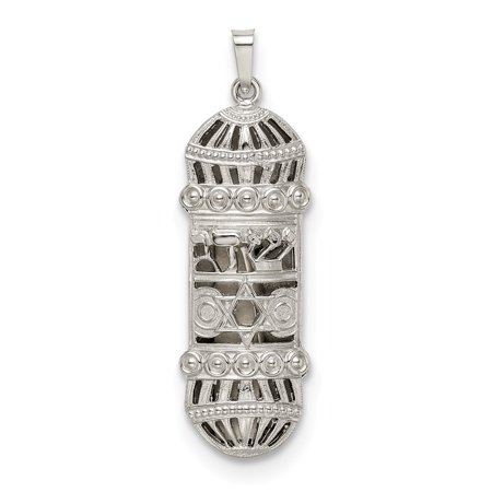 Mireval Sterling Silver Fancy Mezuzah Pendant (approximately 36 x 13 mm) Sterling Silver Mezuzah Pendant
