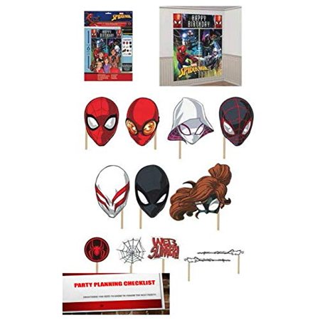 Spider-Man Webbed Wonder Scene Setter Backdrop With Photo Booth Props (Plus Party Planning Checklist by Mikes Super Store)