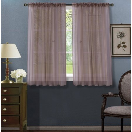 2pc Taupe Solid Sheer Voile Window Curtain Set, Two (2) Rod Pocket Panels 55