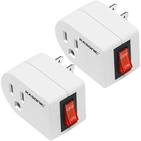 Kasonic Grounded Outlet Adapter, ETL Listed Wall Tap Adapter with Red Indicator On/Off Power Switch 2-PACK Ground Fault Wall Outlets