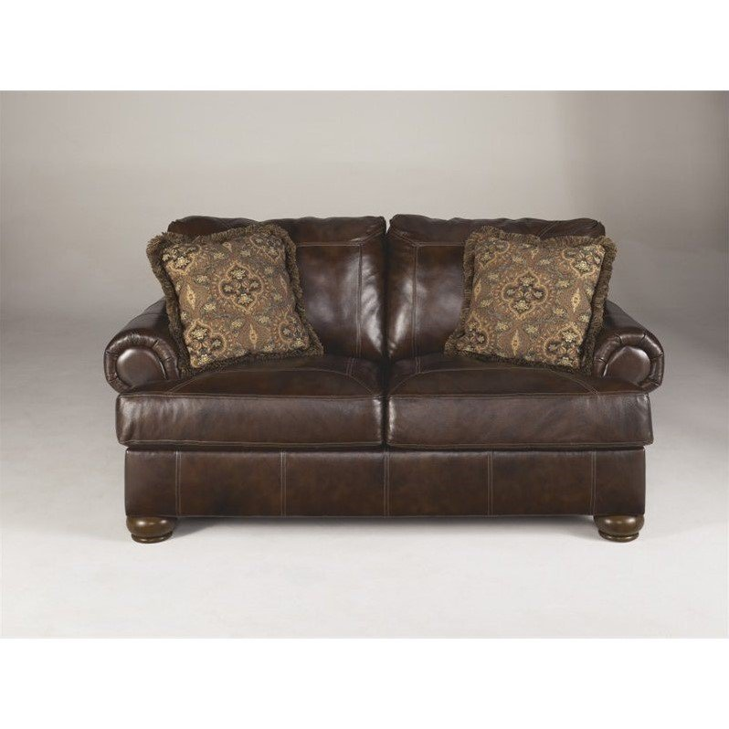 Ashley Furniture Axiom Leather Loveseat In Walnut