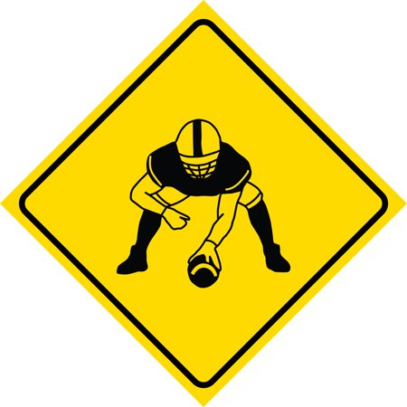 Yellow Diamond Caution Football Player Crossing Signs Commercial Plastic Square Sign,