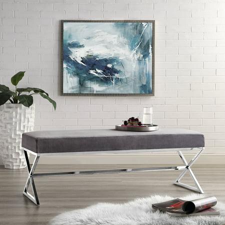 Sensational Frank Stainless Steel Grey Velvet Bench Chrome Legs Machost Co Dining Chair Design Ideas Machostcouk