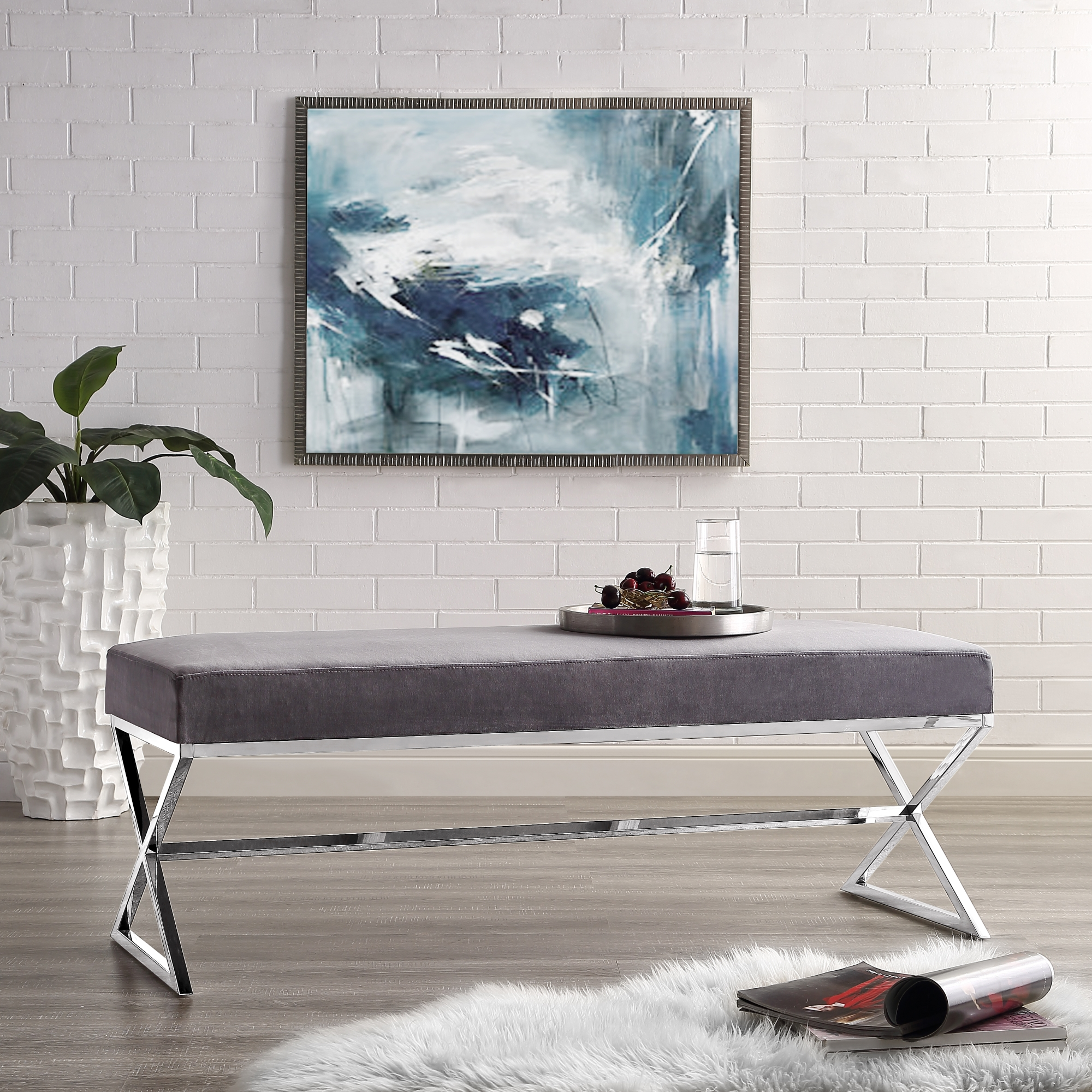 Frank Stainless Steel Grey Velvet Bench | Chrome Legs | Modern | by Inspired Home