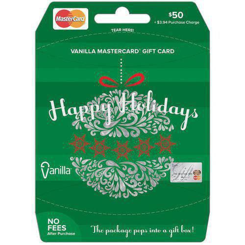 Vanilla MasterCard Holiday Ornament  $50 Gift Card