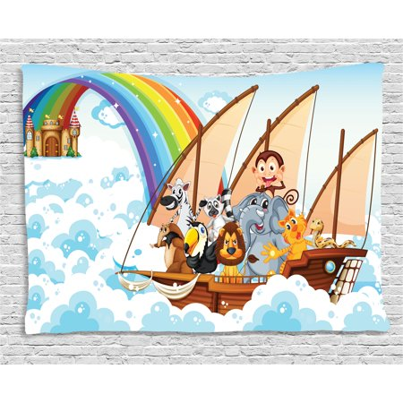 Children Tapestry, Many Animals on a Boat Noah