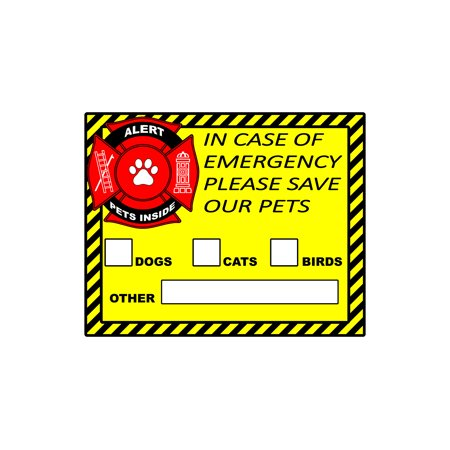Emergency Rescue Decal (Pet Alert Safety Fire Rescue Sticker - Save Our Pets Emergency Pet Inside Decals Set of 6 )