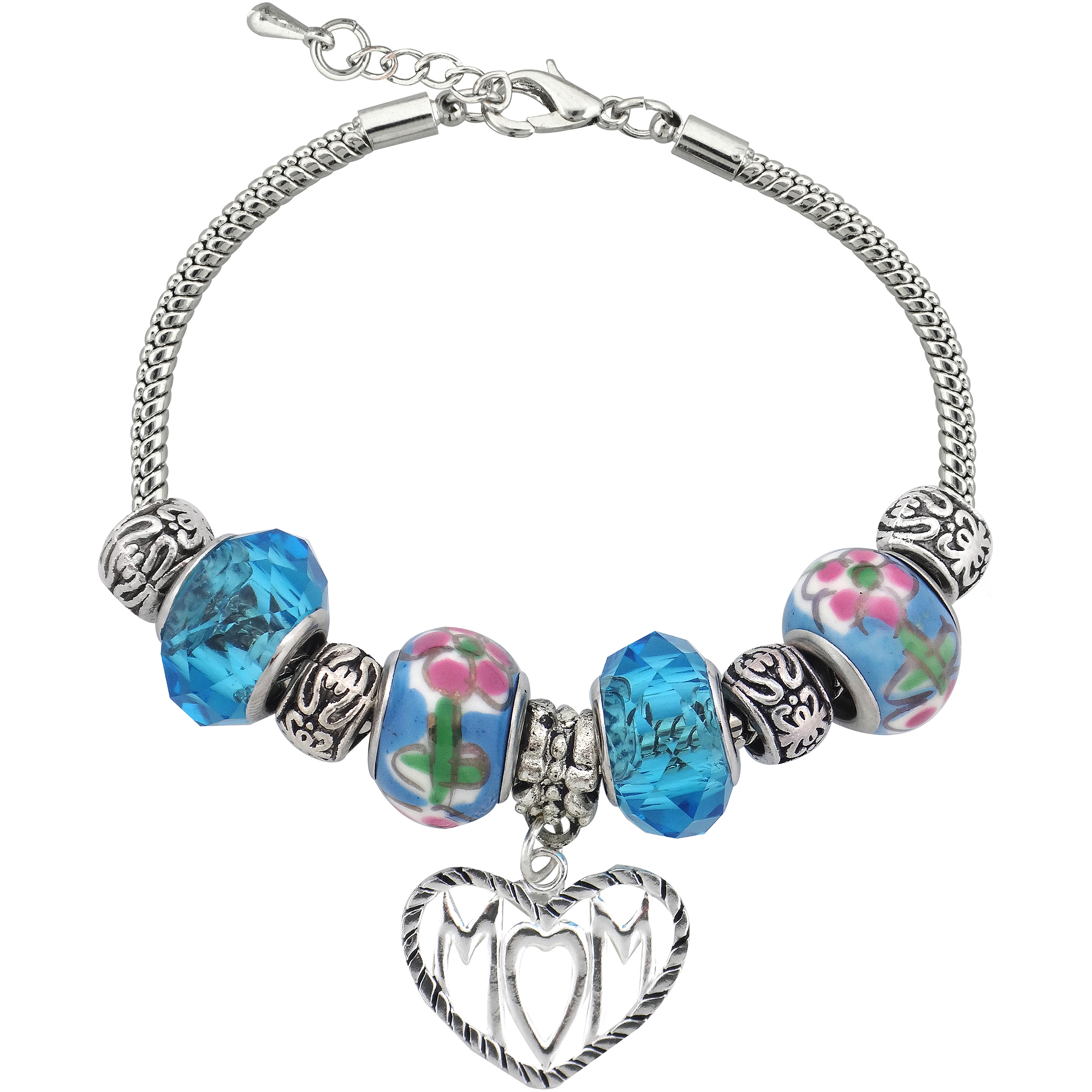 Silvertone Mom Charm and Glass Beads Bracelet with Extender, 7.5