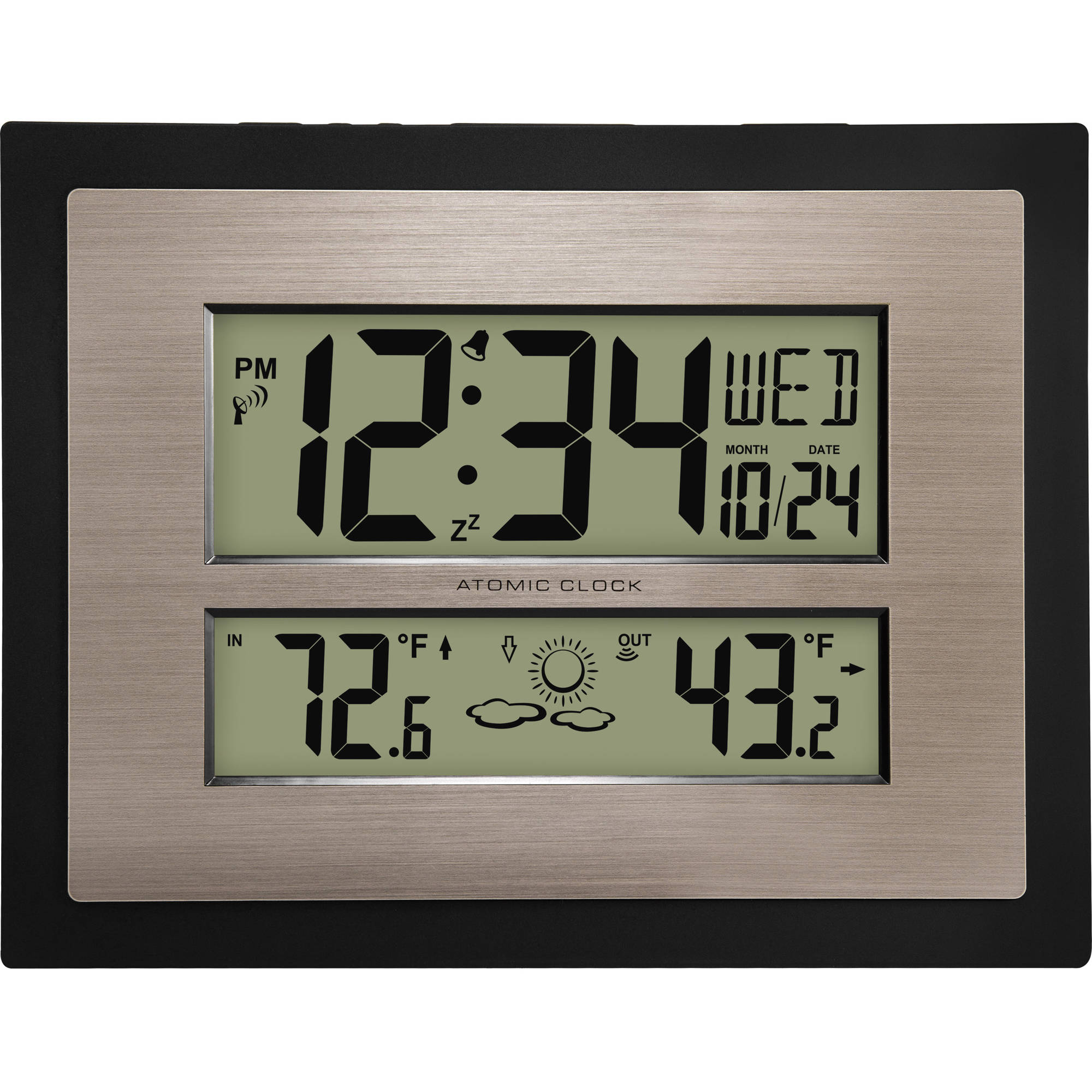 Better Homes And Gardens Atomic Digital Wall Clock With Forecast, Black