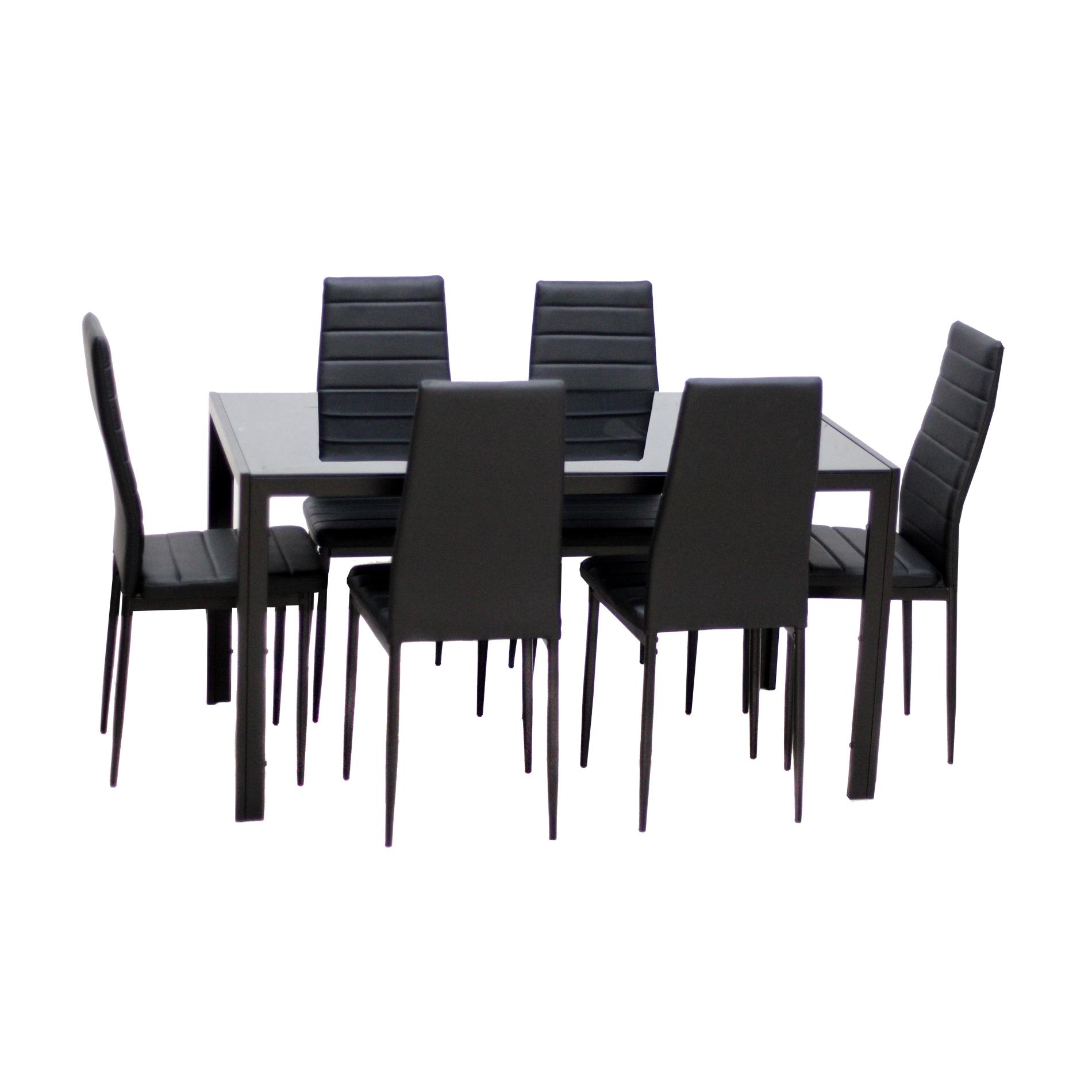 IDS HOME 7 Piece Breakfast Furniture Glass Dining Table Set with 6 Seat Chairs
