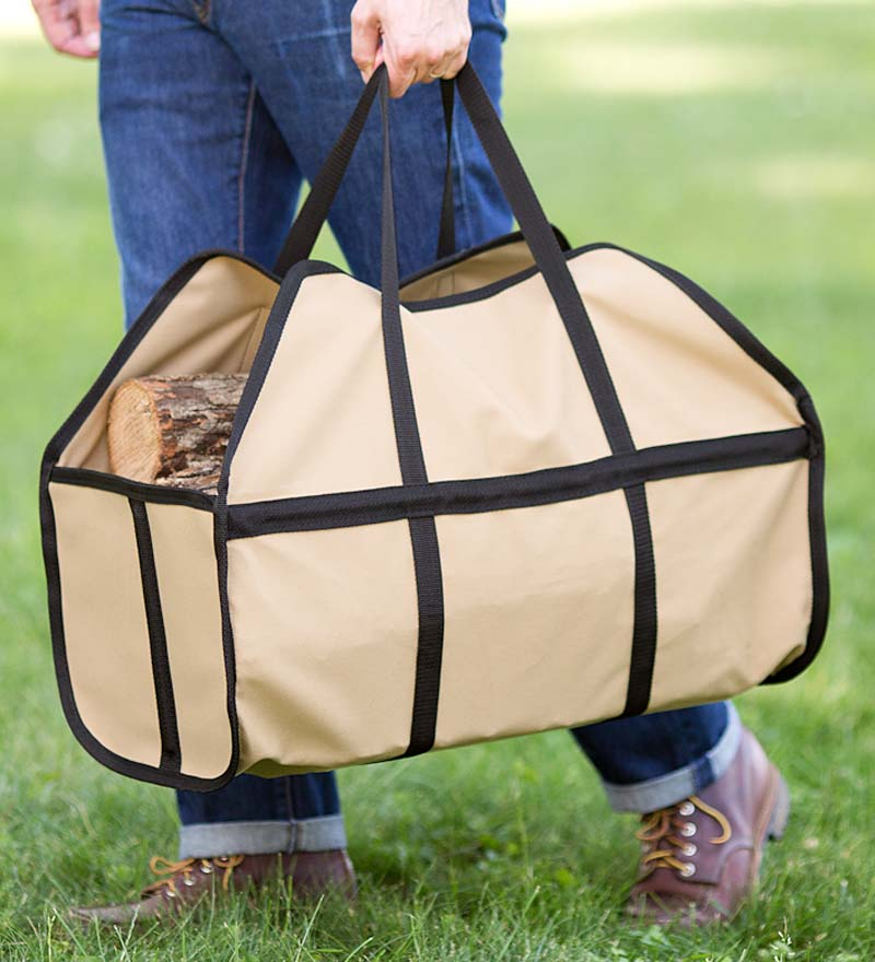 Tan Easy-load Canvas Log Carrier with Closed-end Design