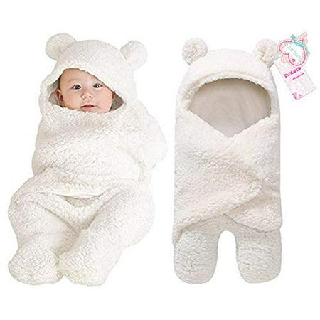Newborn Baby Boy Girl Cute Cotton Plush Receiving Blanket Sleeping Wrap Swaddle (White, One Size)