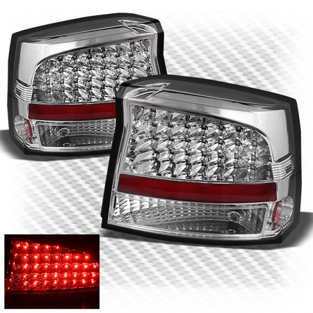 For 2005-2008 Dodge Charger Sport Chrome Clear LED Tail Lights Brake Lamps  Set Pair Left+Right/2006 2007