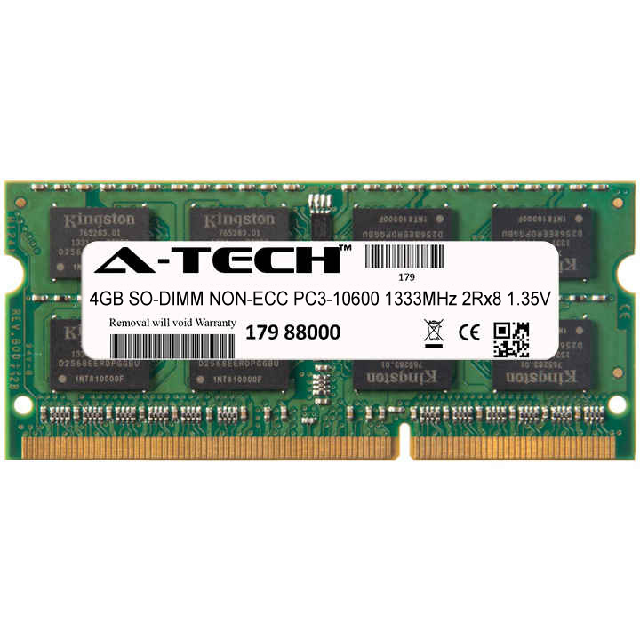 4GB Module PC3-10600 1333MHz 1.35V 2Rx8 NON-ECC DDR3 SO-DIMM Laptop 204-pin Memory Ram