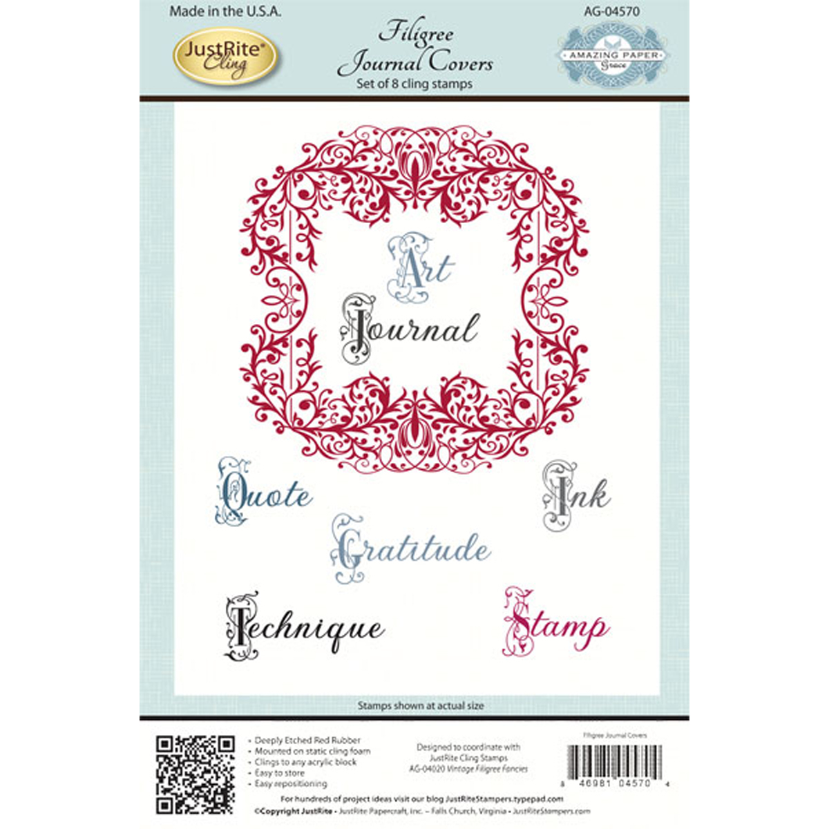 "JustRite Papercraft Cling Stamps 5.5""X8.5""-Filigree Journal Covers"