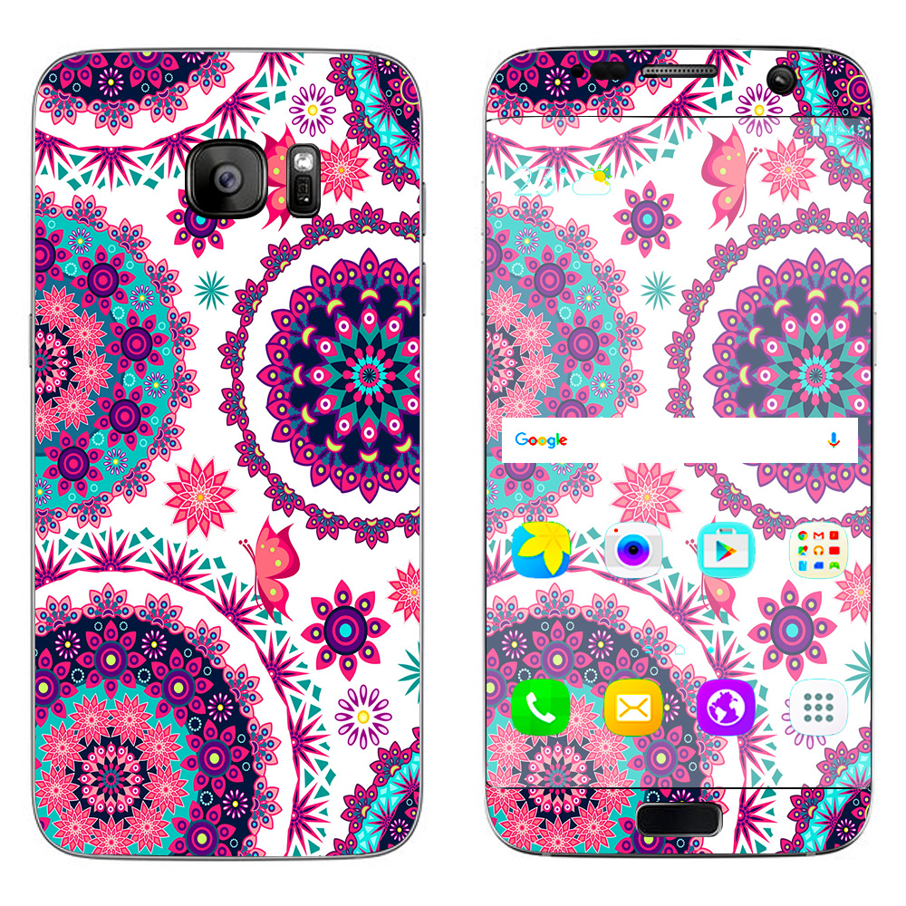 Skins Decals For Samsung Galaxy S7 Edge / Flowers Paisley Butterfly Mandala