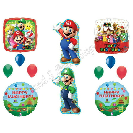 DELUXE! Mario Brothers Luigi Birthday Party Balloons Decoration Supplies Game - Mario And Luigi Party Decorations