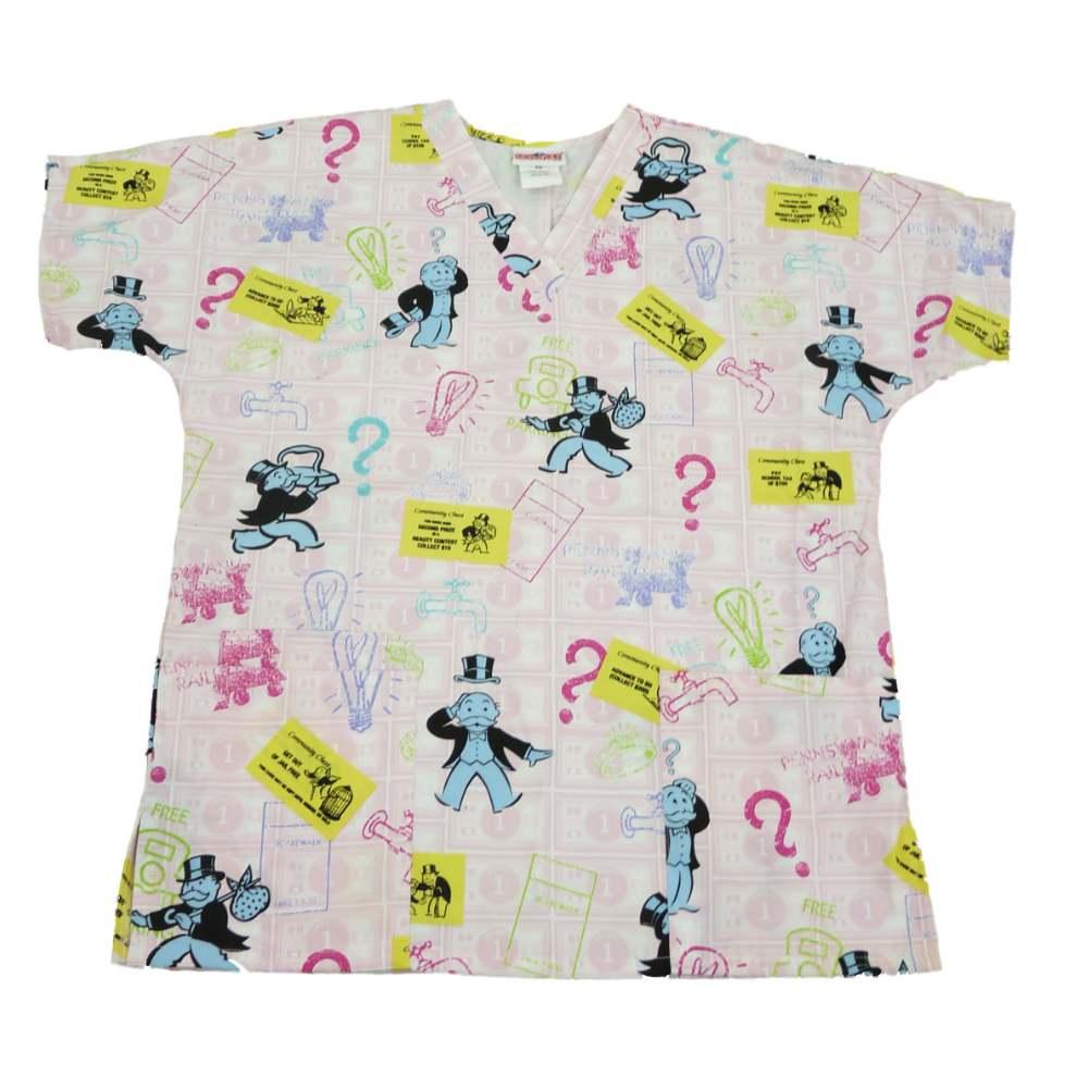 Monopoly Womens Pink Medical Smock Nurse Scrubs Shirt Top XS