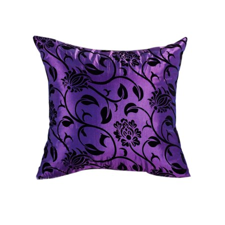 Flower Throw Pillow Case Simulation Satin Floral Square Cushion Cover Bedroom Sofa Decoration ()