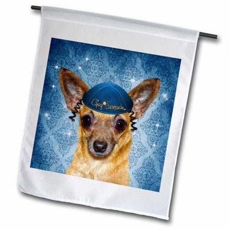 3dRose Chihuahua in a Yarmulke For Chanukah Funny Dog Polyester Garden Flag - Hanukkah Outdoor Decorations