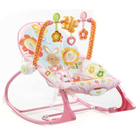 Fisher-Price Infant-To-Toddler Rocker, Pink Bunny with Removable Bar