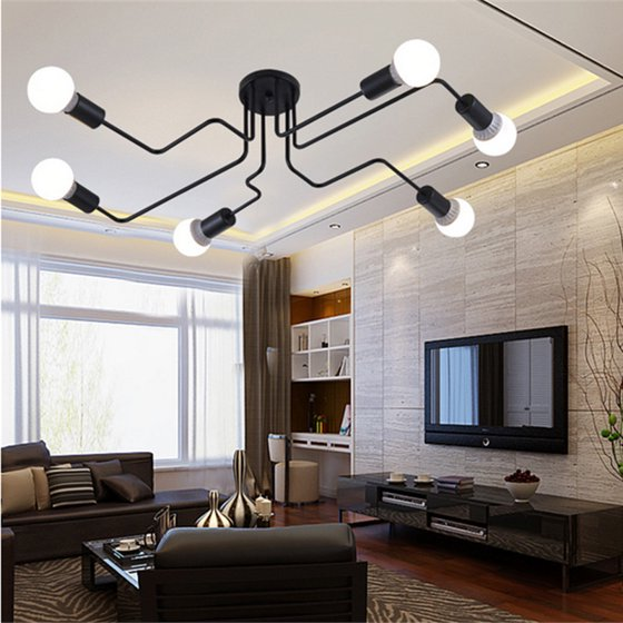 110V/220V 6/8 Heads E27 Multiple Rod Iron Ceiling Lights Lamps Vintage  Industrial Pendant Lights Chandelier For Home Kitchen Living Room Bar  Coffee ...