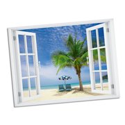 Palm Chairs Paradise Window Art 24x32 Wall Decal