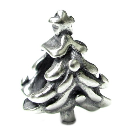 Christmas Tree Star Charm - Queenberry Sterling Silver Christmas Tree Star European Style Bead Charm Fits Pandora