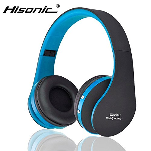 Hisonic HS8252 Foldable Noise Cancelling Wireless Stereo Bluetooth Headphones with Microphone (Blue)