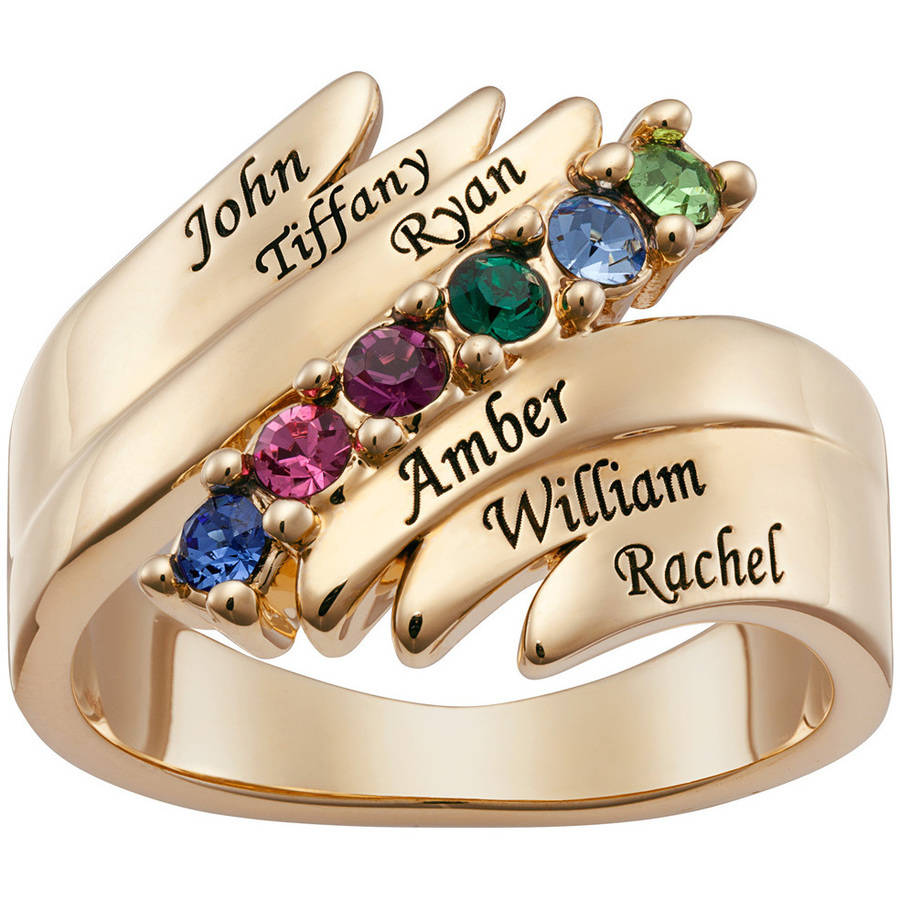 Personalized Family Gold-Plated Birthstones and Names Ring