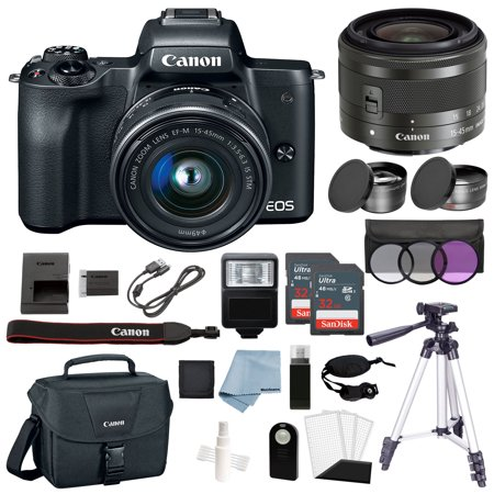 Canon EOS M50 Mirrorless Digital Camera Black With 15–45mm Lens Deluxe (Canon 6d With 70 200 F2 8 Price)