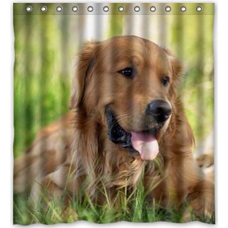 Greendecor Dog Golden Retriever Picture Waterproof Shower Curtain Set With Hooks Bathroom Accessories Size 66x72 Inches